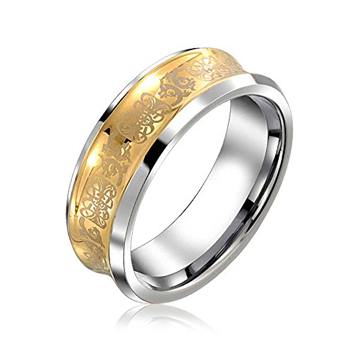 Bling Jewelry Two Tone Couples Concave Celtic Dragon Wedding Band Ring Unisex 14K Gold Plated Tungsten