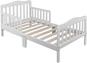 Toddler Bed, Classic Design Wood Bed Frame w/Two Side Safety Guardrails & Wooden Slat Support for Kids Boys & Girls, Children Sleeping Bedroom Furniture (White)