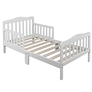 Kids Toddler Bed, Children Bedroom Furniture, Sturdy Wooden Frame for Extra Safety for Boys and Girls Full Bed Frame Grey (White)