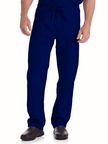 Landau Essentials 7602 Unisex Reversible Drawstring Scrub Pant True Navy L (Essentials Drawstring Pants)
