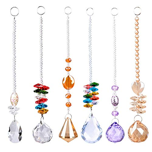 SunAngel Clear Jewelry Crystals Pendants &Chandelier Suncatchers Prisms Hanging Ornament Octogon Chakra Crystal Pendants(6 Packs)