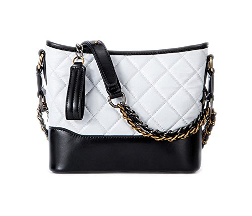 (Fashion Women Real Leather Cross Body Gold and Silver Chain Gabrielle Bag Double-use Quilted Purse (white and black))