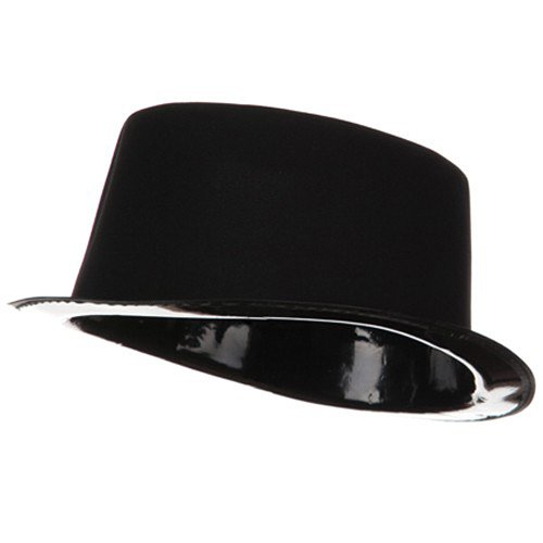 Flocked Top Hat - Black Flocked Top Hat