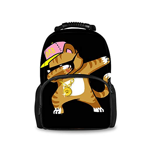 REFLEXS Dabbing Cat Funny Cool Hip Hop Dabbing Kitten Durable Anti Theft Backpack for School, University, College by REFLEXS