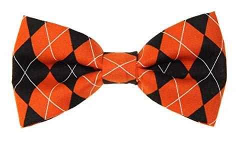 - Men's Orange/Black Argyle Clip On Cotton Bow Tie Novelty Bowtie amy2004marie