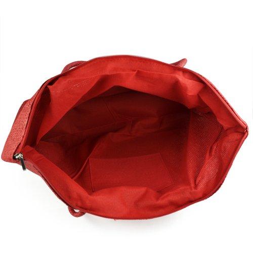 SODIAL(R) Damen Stroh Weberei-Sommer-Strand-Einkaufstasche Einkaufstasche mit Reissverschluss Reisen-rot