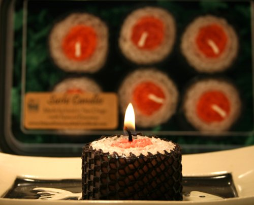 Sushi Natural Beeswax Candles boxed set of 6 - orange by Natural Selection Bath and Body