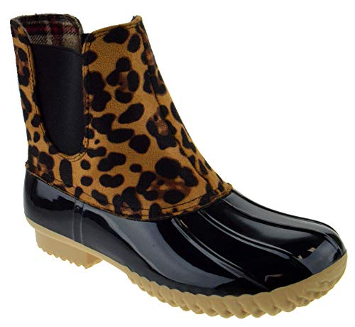 Nature Breeze Duck 08 Womens Two Tone Pull On Rain Duck Boots Leopard 9
