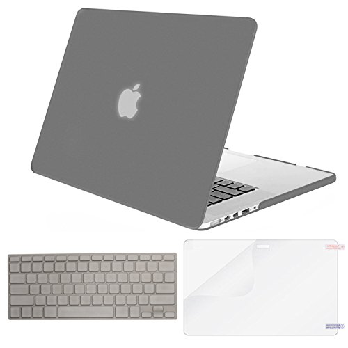 MOSISO Case Only Compatible MacBook Pro (W/O USB-C) Retina 13 Inch (A1502/A1425)(W/O CD-ROM) Release 2015/2014/2013/end 2012 Plastic Hard Shell & Keyboard Cover & Screen Protector, Gray