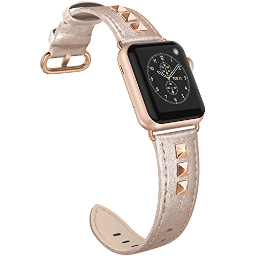 SWEES Genuine Leather Band Compatible iWatch Apple Watch 40mm 38mm Series 4, Series 3, Series 2, Series 1, Sports & Edition, Bling Dressy Designer Design Small Bands for Women, Rose Gold