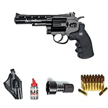 """ASG Dan Wesson 4"""" Black Revolver Steel BB Airgun with Holster, Cartridges, Extra BBs, and a Speed-Loader"""