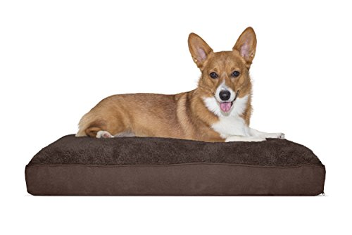 FurHaven Pet Dog Bed   Deluxe Snuggle Terry & Suede Pillow Pet Bed for Dogs & Cats, Espresso, - Espresso Suede Pillow
