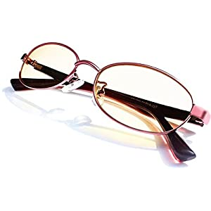 Computer Video Gaming Vision protection Glasses - Patented - 100%UV400 and Blue Light Blocking Anti Glare Eye Strain Amber Melanin Sleep Glasses Metal Frame Purple