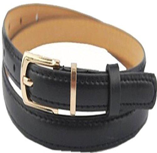 Tosangn Elegant Fashion Women Belt Candy Color Leather Waistband Dress Accessories (Black) (1.5 Cm Leather Belt)
