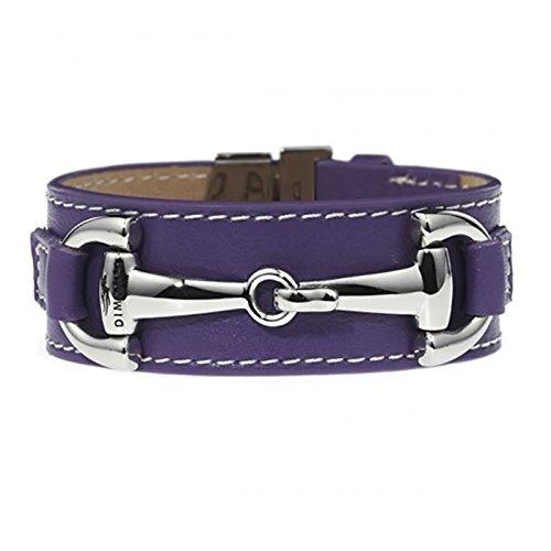 Bracelet en cuir violet et mors en acier argenté