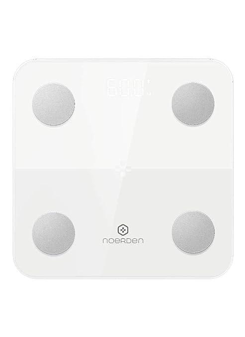 NOERDEN MINIMI - Negro - Balanza corporal inteligente - Bluetooth, pantalla LED, vidrio templado, tecnología de bioimpedancia, 4 sensores de precisión: ...