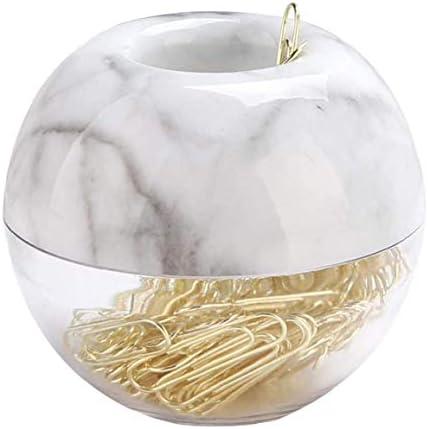 NiceCore Papercliphouder dispenser marmeren clip houders elegante ronde clip met deksel ring voor kantoor school thuis 100 stuks