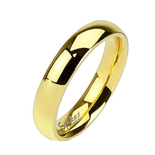 Jinique TIR-0011 Solid Titanium Gold IP 4mm Wide Classic Band Ring; Comes With Free Gift Box (Classic Solid Wide Band)