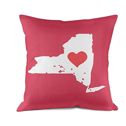 - R70pSports New York State Map with Heart Cushion Case Full Printing 100% Cotton Cushion Pillow Cover