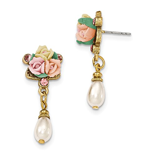 Porcelain Rose Jewelry Set - 1928 Jewelry Gold-Tone Crystal Pink Porcelain Rose Simulated Pearl Drop Earrings