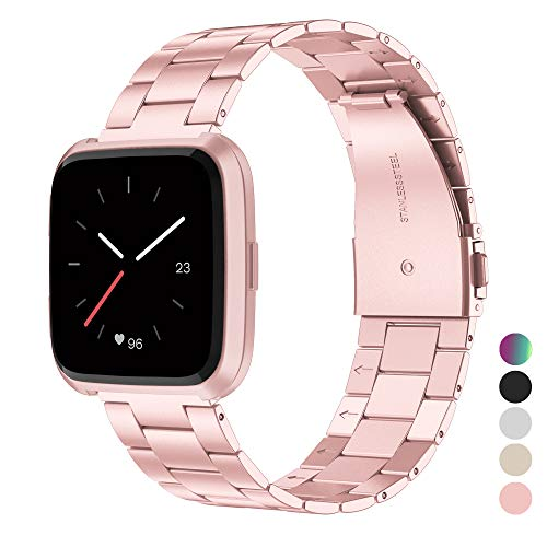(Wearlizer Stainless Steel Band Compatible for Fitbit Versa Bands Women Men,Ultra-Thin Lightweight Replacement Band Strap Bracelet Compatible for Fitbit Versa Smartwatch Accessories Rosegold)