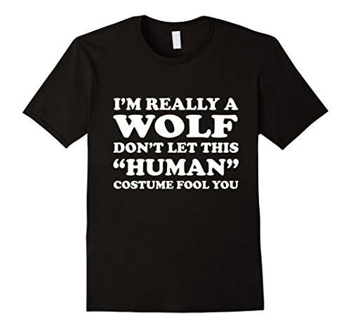 [Men's Really Wolf Human Costume Lazy Halloween T-Shirt XL Black] (Human Wolf Costume)