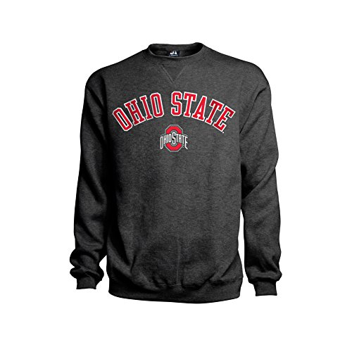 Elite Fan Shop Ohio State Buckeyes Crewneck Sweatshirt Arch Over Embroidered Charcoal - XXL