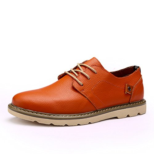 Go-tour Heren Veterschoen Casual Oxfords Sluiting Lederen Schoenen Oranje
