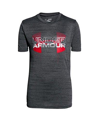 Under Armour Boys' Tech Big Logo Hybrid T-Shirt, Black (001), Youth Medium