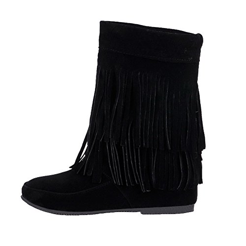 Allhqfashion Mujeres Low-heels Frosted Low-top Solid Pull-on Botas Negro