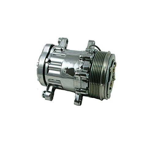 A-Team Performance HC5005BK A/C Compressor Sanden SD-7 Type 6-Groove Serpentine Aluminum Housing (Chrome)