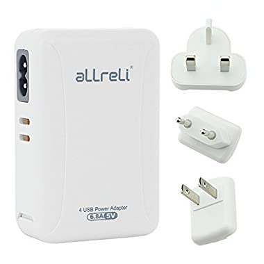 USB Charger aLLreLi Smart IC 4-Port Wall Charger with US UK EU AU International Travel Adapters - 6.8A/34W for Apple iPhone iPad, Samsung Galaxy, Smartphone, Tablet and More - White