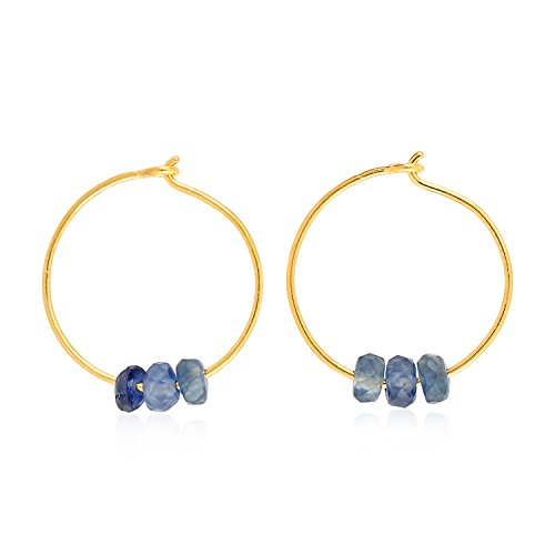 18K Yellow Gold Natural Blue Sapphire Beads Dainty Huggie Hoop Earrings for Women (12 mm diameter)
