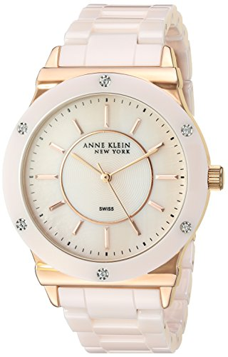 Anne Klein New York Women's 12/2270RGLP Swarovski Crystal Accented Light Pink Ceramic Bracelet Watch