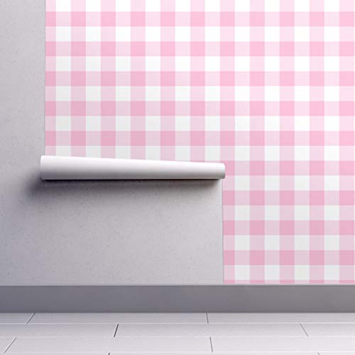 Peel-and-Stick Removable Wallpaper - Pink Gingham Picnic Blanket Buffalo Squares Buffalo Plaid Checks Pink by Domesticate - 24in x 60in Woven Textured Peel-and-Stick Removable Wallpaper Roll