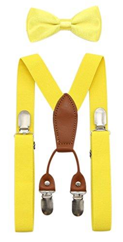 JAIFEI Toddler Kids 4 Clips Adjustable Suspenders and Matching Bow Tie Set (Lemon ()