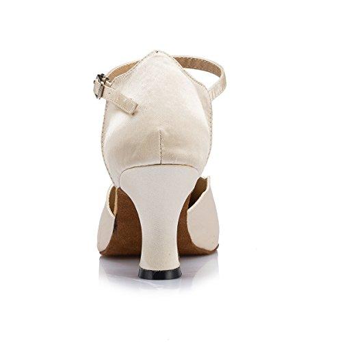 Nude Comfortable Pumps Latin Women's Miyoopark Strap 7cm Heel Shoes Ballroom Evening Dancing Prom Satin Single I7g8BwgqP