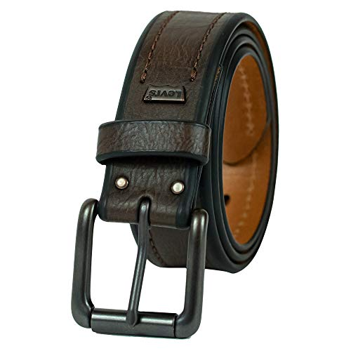 Levi's Men's 1 3/8-Inch Bridle Belt with Stitch Detailing,Brown,Small (Levi Leather Belt)