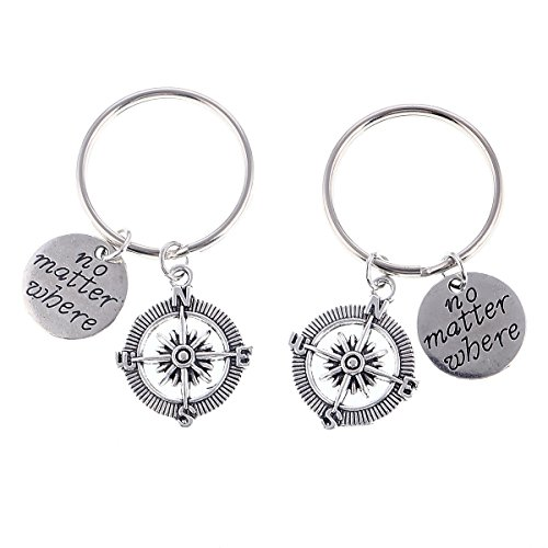 No Matter Where Keychain Key Ring Anchor Jewelry Set Valentines Day Best Friend Gift (Two Pieces Round)