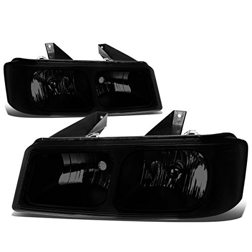 Pair of Smoke Lens Headlight for Chevy Express GMC Savana 1500 2500 3500 03-15