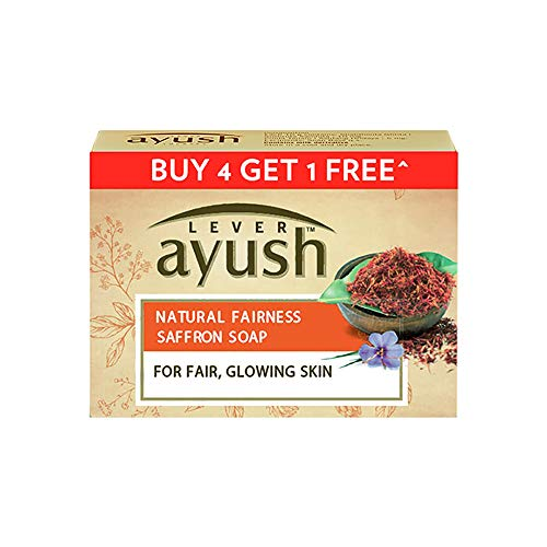 LD Lever Ayush Natural Fairness Saffron Soap 100 g each Buy 4 Get 1