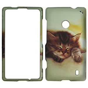 2D Cat Nokia Lumia 520 AT&T Case Cover Phone Snap on Cover Case Protector Rubberized Frosted Matte Surface Hard Shells