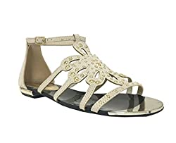 Paprika Women's Beam Open Toe Metal Tips Studded Strappy Cut Out Flower Flat Sandal, nude faux suede, 5.5 M US