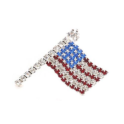 Silver Small Wavy American Flag Pin (American Flag Pin Brooch)