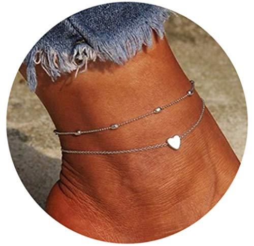 Phima Women Anklet Bracelets Silver Heart Charm Beaded Dainty Anklet Bracelets for Teen Girls Adjustable Summer Beach Anklet Foot Chain