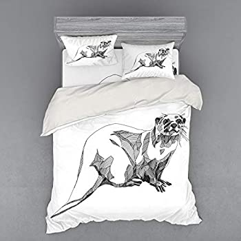 Image of Ambesonne Black and White Bedding Set, Sketch Otter Monochrome with Line Art Inspirations Animal Illustration, 4 Piece Duvet Cover Set with Shams and Fitted Sheet, Queen Size, Black White Home and Kitchen