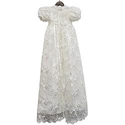 ABaowedding Lace Christening Gowns Baby Baptism Dress Newborn Baby Dress (6 M)
