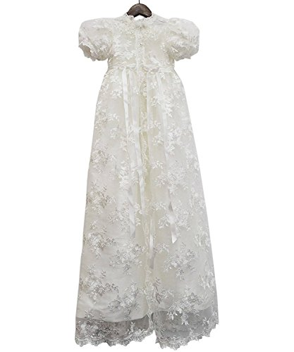 - 2 Pieces Cap Sleeve Long White Lace Baptism Dress Baby Christening Gowns with Bonnet,18M