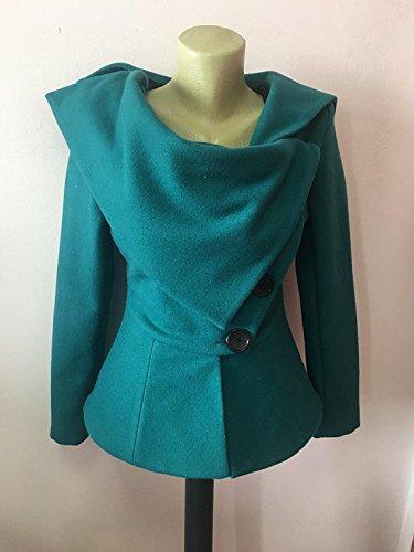 Wool Womens Jacket, Punk Jacket, Avant Garde Jacket,Turquoise Blazer, Extravagant Jacket, Flared Jacket, Asymmetrical Coat, Tailored Jacket