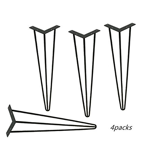 Locisne 4 Pack Heavy Duty Hairpin Table Legs-Superior Weld Powder Coated Matt Black Cast Steel 3 Rods 28 inch Height Modern Style Metal Hairpin Legs Dining Room Furniture Accessories ()